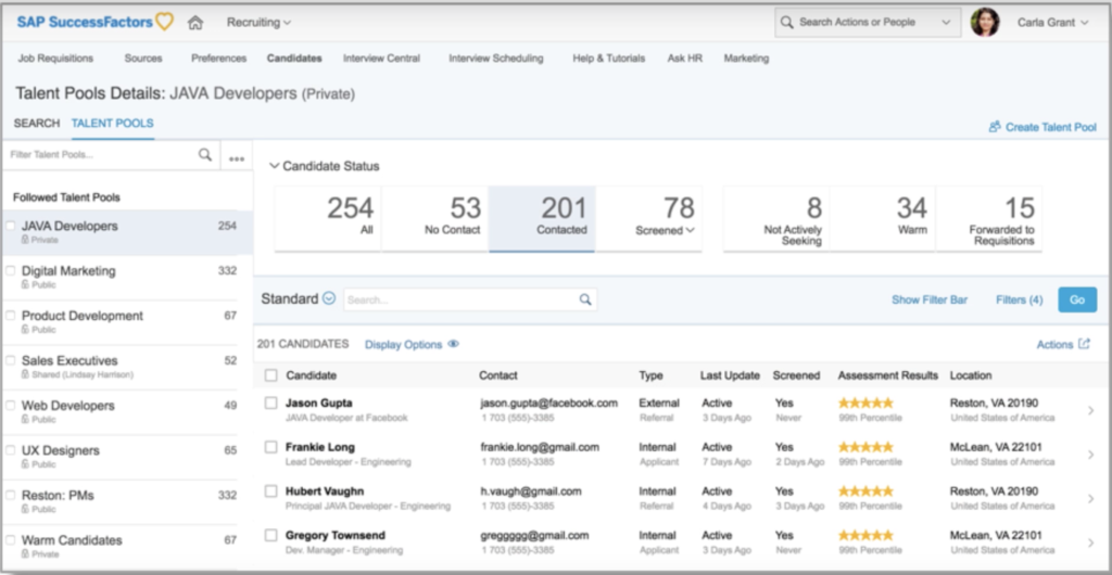 SAP SuccessFactors update CRM candidate relationship management.