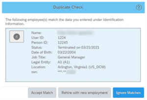 Visual aid for rehire duplicate check match results