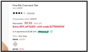 Screen capture of discounts available on JCrew factory website.