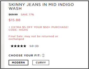 Screen capture of discounts available on JCrew Factory website