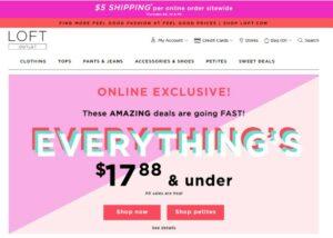 Screen capture of promotional deals on Loft.com